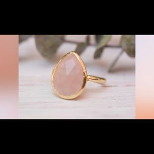 Rose quartz teardrop ring from Etsy